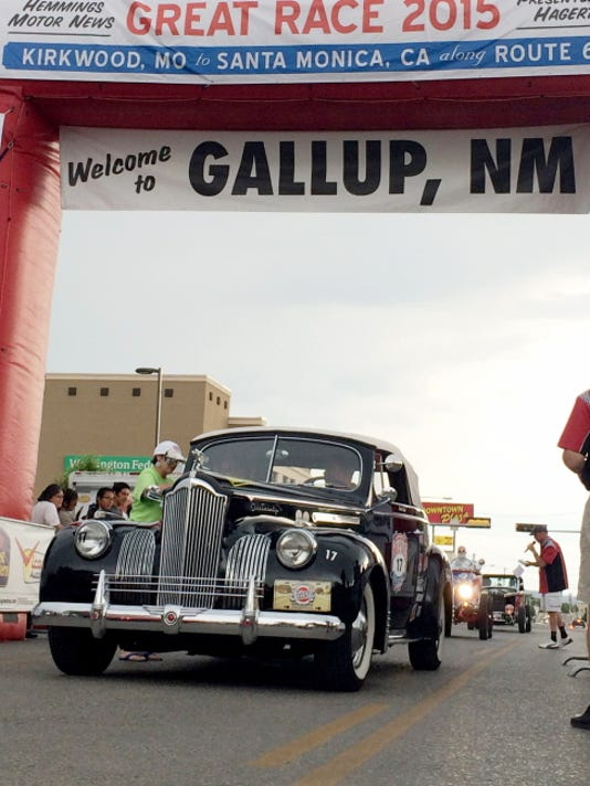 A 1941 Packard crosses the finish line in Gallup, N.M., an overnight stop on the Great Race.