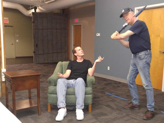 Actors Danny Kincaid Kunz, right, and Peter Doyle rehearse