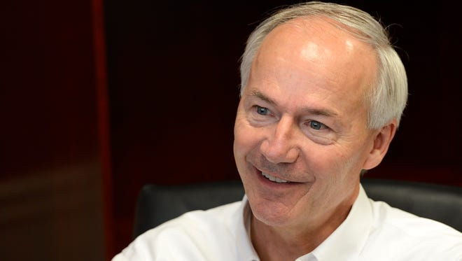 Asa Hutchinson, Republican candidate for governor, talks Wednesday about the private option during a visit to The Baxter Bulletin.
