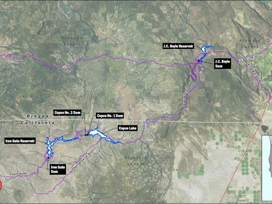 This map shows the locations of the four dams that would be removed on the Klamath River.