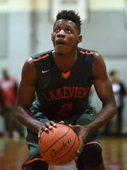 Lakeview's Adrio Bailey takes a foul shot during a