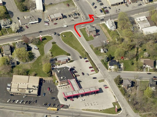 The red arrow illustrates the illegal route some drivers take to travel east on Lincoln Way West from Monticello Court to Grandview Avenue. Council voted Monday to make the northern end of Monticello Drive one-way south. Mayor Darren Brown cast the deciding vote after council split 5-5.