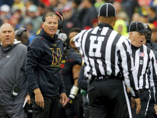 Maryland head coach Randy Edsall, second from left, stands on the sideline during Saturday's game vs. Michigan in College Park, Maryland. If published reports are true, Edsall's tenure as Maryland's coach will end after Saturday's game vs. No. 1 Ohio State.