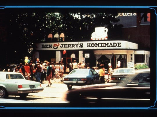 The original Ben & Jerry's location in a former gas station seen in 1978.