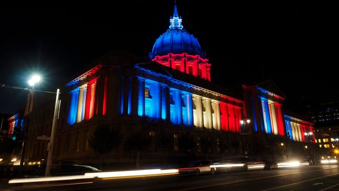 Vero Beach Mayor Val Zudans has attracted attention from the critical letter he wrote to the City and County of San Francisco Board of Supervisors about the anti-National Rifle Association resolution the board passed. In this file photo, San Francisco City Hall is illuminated with the French national colors.