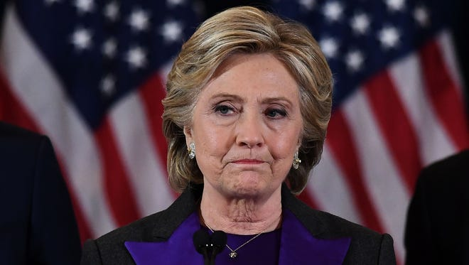 In a Nov. 9 file photo, Democratic presidential candidate Hillary Clinton makes a concession speech in New York City losing to GOP rival Donald Trump. Clinton spoke for the first time since at the Children's Defense Fund gala Wednesday night.