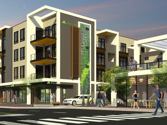 A rendering shows the Village 21 at Regions Park project that GBT Realty plans in Hillsboro Village.