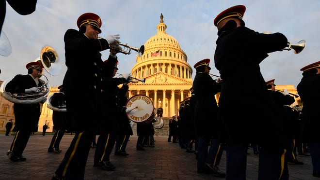 The U.S. Army marching band performs at the rehearsal for the Inauguration.