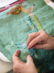 A piece Pat Athanas is currently cross-stitching, depicting