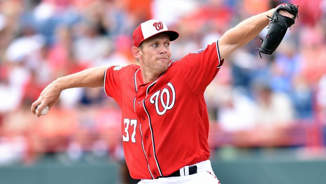 Mar 5, 2016; Melbourne, FL, USA; Washington Nationals starting pitcher Stephen Strasburg (37) throws against the Detroit Tigers during a spring training game at Space Coast Stadium. Mandatory Credit: Steve Mitchell-USA TODAY Sports