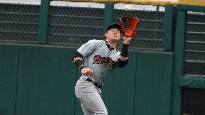 Scranton/WB right fielder Clint Frazier makes a running catch in deep right field near the corner at Frontier Field.