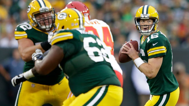 Packers backup quarterback Scott Tolzien (16) looks to pass during the first half of last Thursday's game against the Chiefs.