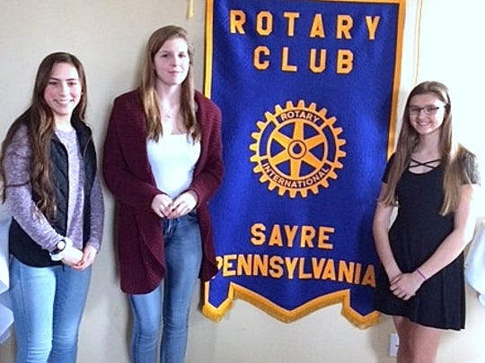 The winners of this year's essay contest were recently honored at the Sayre Rotary luncheon at the Grill at the Station in Sayre. From left are Jennifer Shaffer, Brianna Schumacher and Kattie Winge.