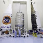 Inside the Payload Hazardous Servicing Facility at Kennedy Space Center on March 8, a Cygnus cargo spacecraft was being prepared for the upcoming Orbital ATK Commercial Resupply Services-6 mission to deliver hardware and supplies to the International Space Station. The Cygnus moved to the launch pad on Monday.