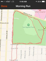 This map shows of Ron Jaecks' running route through