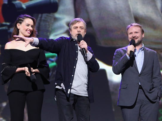 (L-R) Actors Daisy Ridley, Mark Hamill and director