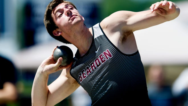 Bearden's Joshua Sobota participates in the shot put event during the Class AAA sectional track and field championship at Hardin Valley Academy  in Knoxville, Tennessee on Saturday, May 13, 2017.