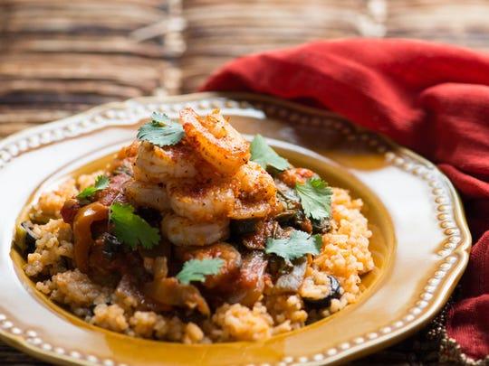 Shrimp Paprika with grilled vegetable medley