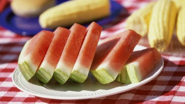 Close-up of watermelon slices on a plate on a picnic table