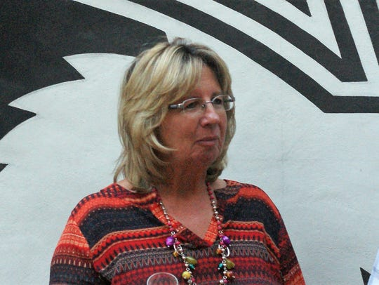 Chamber and MainStreet director Laurie Findley, seen at a reception in Deming's Arts Park in 2017.
