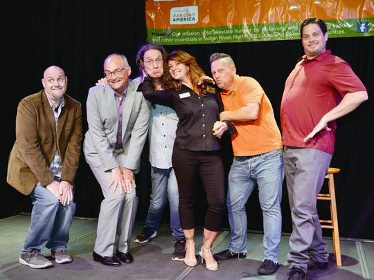 Casey Peruski, Brad Upton, Spaz McGoorty, Triana Romero, Gary Porter and Chris Z at the Out Laugh Hunger at the Sunrise Theatre's Black Box.