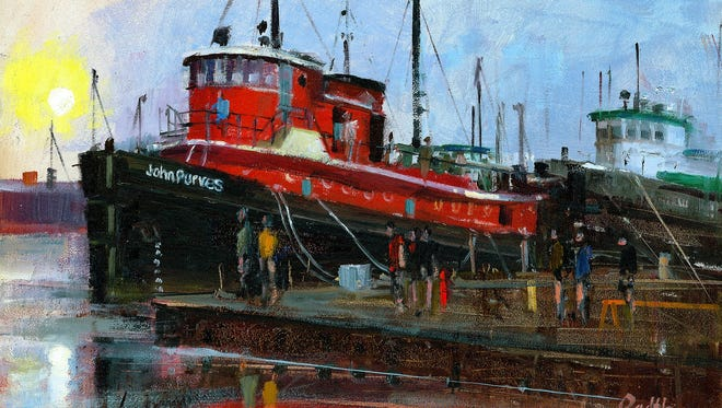 Oil painting of the tug John Purves by Lee Radtke, part of his his exhibit at the Door County Maritime Museum.