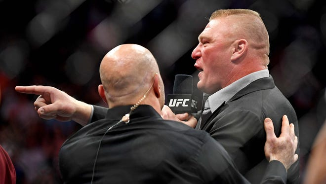 Brock Lesnar enters the octagon after Daniel Cormier beat Stipe Miocic at UFC 226 at T-Mobile Arena.