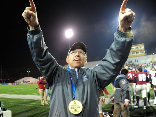 Montgomery Bell coach Marty Euverard celebrates after