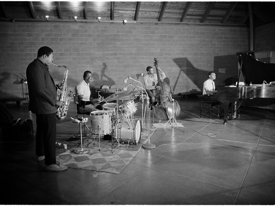 "John Coltrane and his ""Classic Quartet,"" at a session"