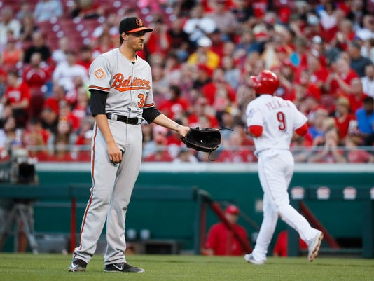 Baltimore Orioles starting pitcher Kevin Gausman reacts after hitting Cincinnati Reds' Jose Peraza with a pitch in the second inning of a baseball game, Tuesday, April 18, 2017, in Cincinnati. (AP Photo/John Minchillo)