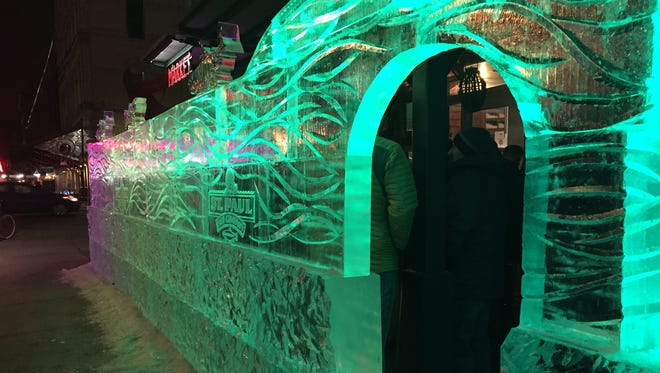 The ice bar outside St. Paul Fish Co. at the Milwaukee Public Market, E. St. Paul Ave. at N. Broadway, as it appeared on Jan. 27, 2018. The ice bars will return in 2019.