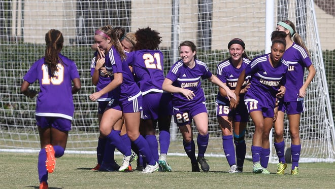 Clarksville players celebrate a goal against Franklin during their Class AAA Soccer Championship on Oct. 29, 2016, at Richard Siegel Soccer Complex in Murfreesboro.