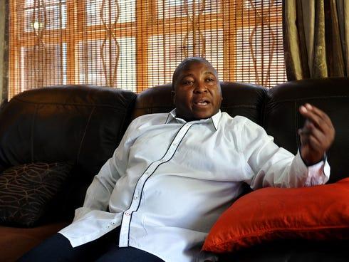 Sign language interpreter Thamsanqa Jantjie speaks at his home in Bramfischerville, South Africa on Dec. 11.