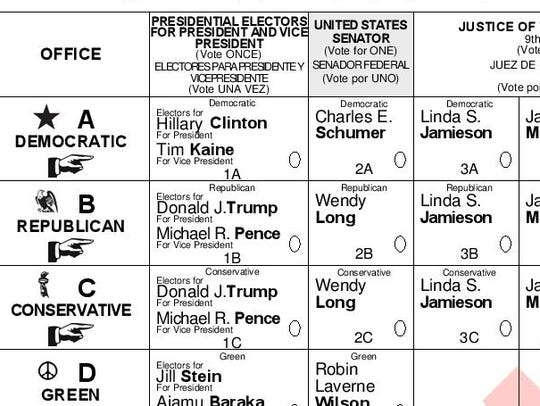 Part of a Rockland County sample ballot for the 2016