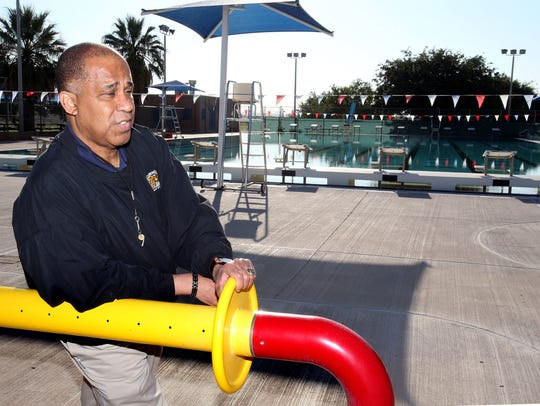 Wayne Thornton, marketing and public relations manager for the city Parks and Recreation Department, showed one of the interactive water features at Pavo Real Pool.