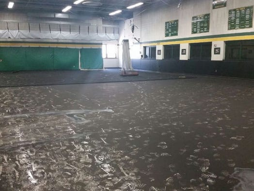 Fire damage at Green Bay Preble High School, as seen on Sunday, Aug. 10, 2014.