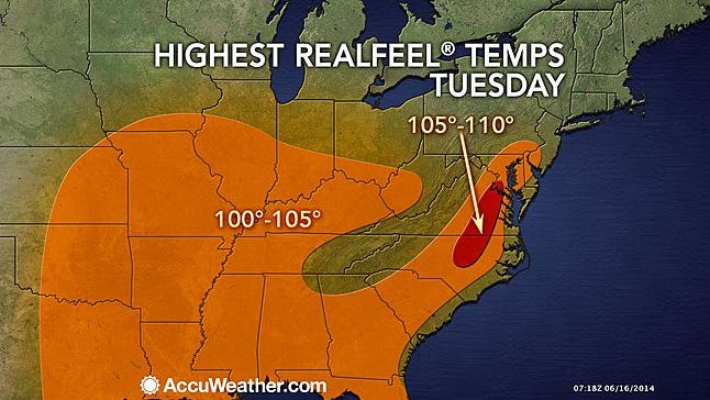 """The highest """"Realfeel"""" temperatures June 17, 2014, could reach up to 105 degrees with high humidity."""