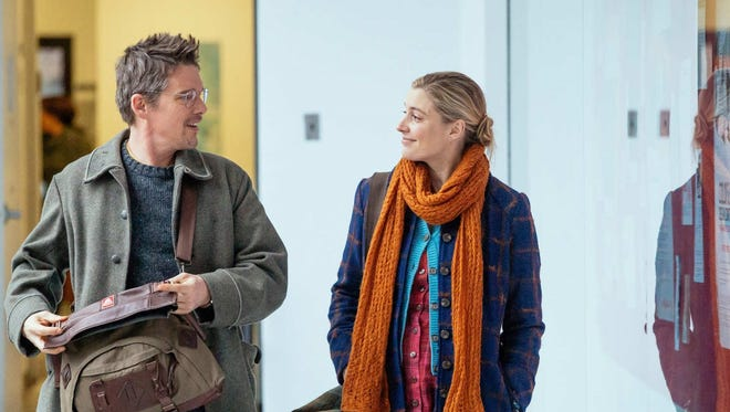 "Ethan Hawke and Greta Gerwig in ""Maggie's Plan."""
