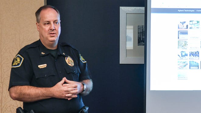Anderson Chief Jim Stewart speaks to staff about ticketing during a police appreciation day held at the Holiday Inn on Clemson Boulevard in Anderson on Wednesday morning. Police will start eticketing, using Chromebook and web-based technology on July 29, said Chief Jim Stewart.