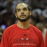 Chicago Bulls center Joakim Noah (13) in game two of the second round of the NBA Playoffs at Quicken Loans Arena.