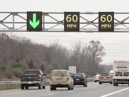 Southbound traffic takes advantage of a third lane