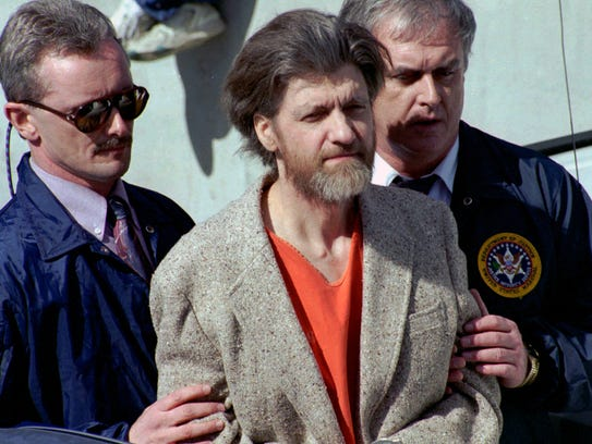 FILE - In this April 4, 1996 file photo, Ted Kaczynski,
