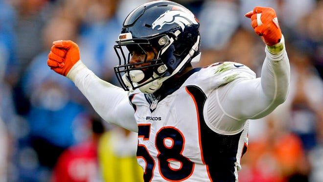 From Dec. 6, 2015, Denver Broncos outside linebacker Von Miller celebrates a sack against the San Diego Chargers during the second half in an NFL football game in San Diego. Miller was selected to the 2010s NFL All-Decade Team announced Monday, April 6, 2020, by the NFL and the Pro Football Hall of Fame.