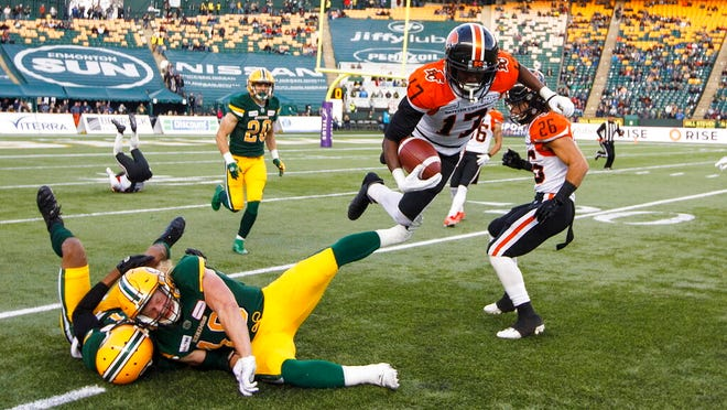 From Oct. 12, 2019, BC Lions' Ryan Lankford (17) leaps past Edmonton Eskimos defenders during the first half of a Canadian Football League game in Edmonton, Alberta, CFL Commissioner Randy Ambrosie said the most likely scenario is to cancel the season because of the coronavirus pandemic. Ambrosie made the admission Thursday, May 7, in testimony to a House of Commons standing committee on finance in Ottawa, Ontario. He appeared via video during a panel on arts, culture, sports and charitable organizations after news broke last week that the CFL requested up to $150 million Canadian in assistance from the federal government.