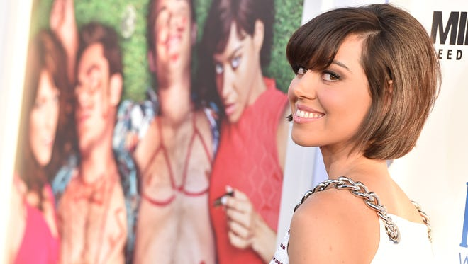 """Aubrey Plaza arrives at a fan screening of """"Mike and Dave Need Wedding Dates"""" in Los Angeles June 29."""
