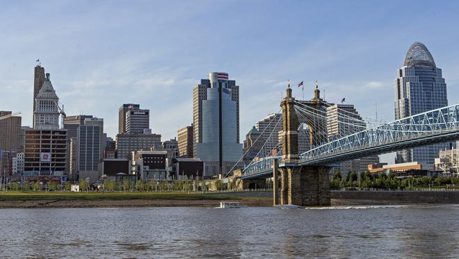 A view of downtown Cincinnati as seen from the banks of the Ohio River in Covington, Ky., on Friday, July 24, 2015.