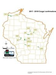 Confirmed cougar sightings in Wisconsin.