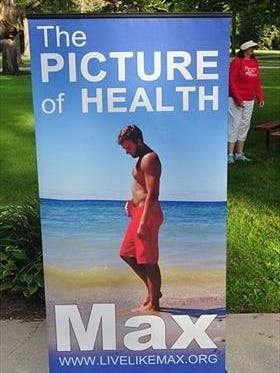 This 2014 photo of Max Pardington, displayed at Saturday's 5K, epitomizes why healthy heart checks are needed. He died suddenly from an enlarged heart that was undetected.