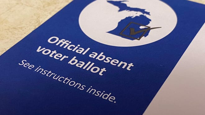 A Michigan absent voter ballot envelope is pictured. Residents in Rollin and Woodstock townships who requested absentee ballots for the general election will be receiving updated ballots due to a mistake in how one race was printed.