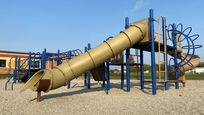 Old playground equipment at Alexander Elementary School in Adrian, like this play structure pictured Saturday, would be replaced by barrier-free equipment if a fundraising effort is successful.